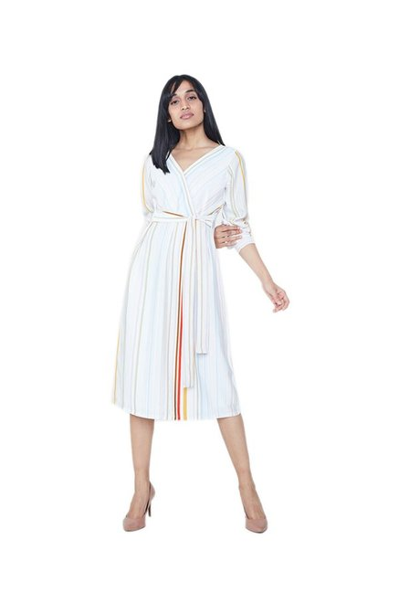 b84b964b66d Buy AND Off White Striped Dress for Women Online   Tata CLiQ