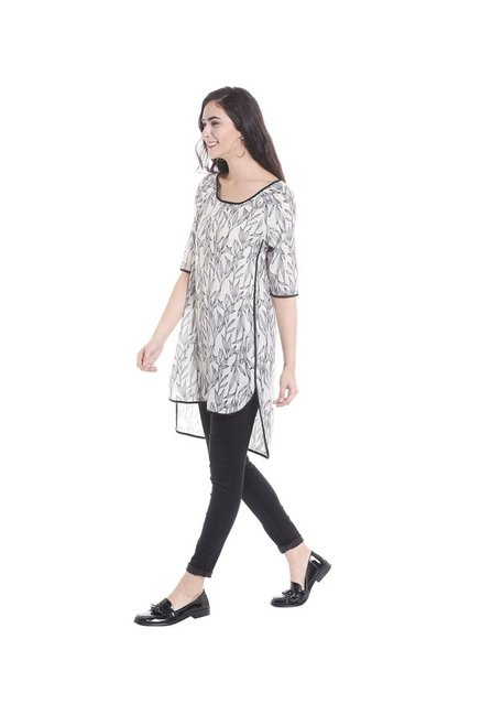 Fusion Beats Off White & Black Printed Tunic