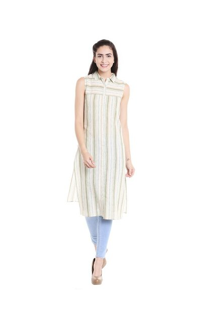 Fusion Beats Green & White Striped Kurta
