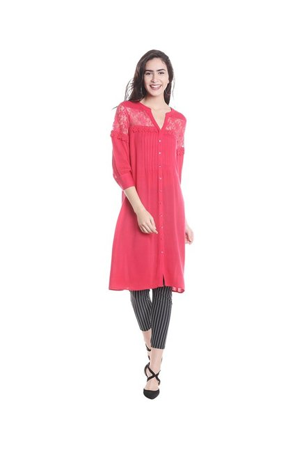 Fusion Beats Pink Regular Fit Kurta