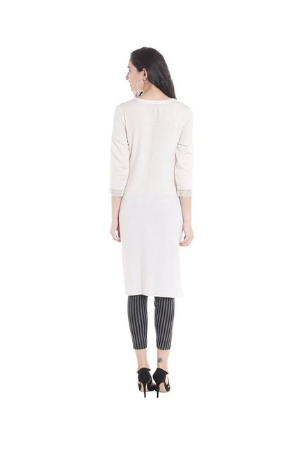 Fusion Beats Off White Regular Fit Kurta