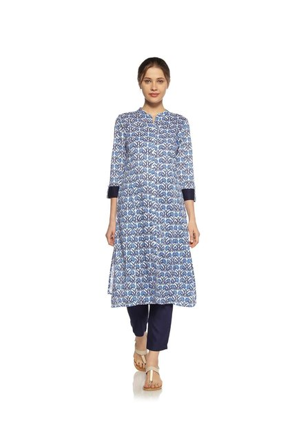 Zudio Blue Block Design Kurta