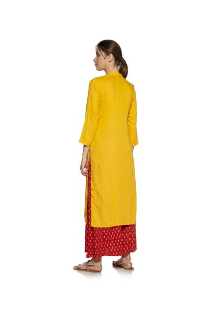 Zudio Mustard Mirror-Work Kurta