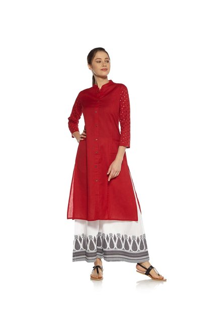 Zudio Red Cut-Out Design Kurta