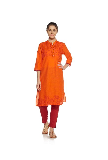 Zudio Orange Floral Print Kurta