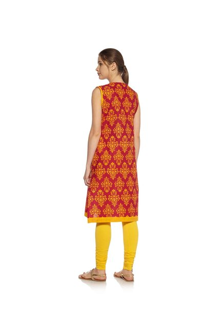 Zudio Red Ethnic Print Kurta
