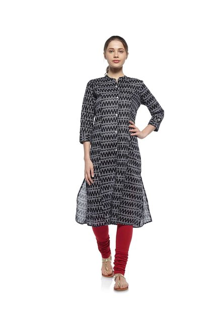 Zudio Black Ethnic Print Kurta