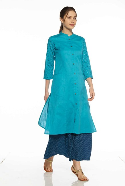 Zudio Teal Cut-Out Design Kurta