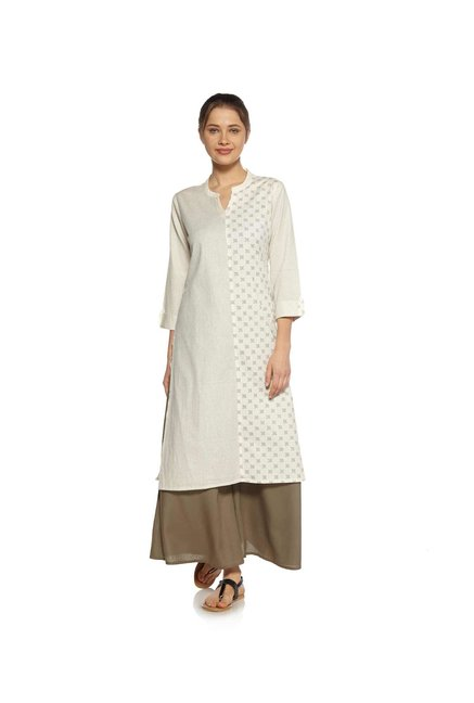 Zudio Off White Striped Print Kurta