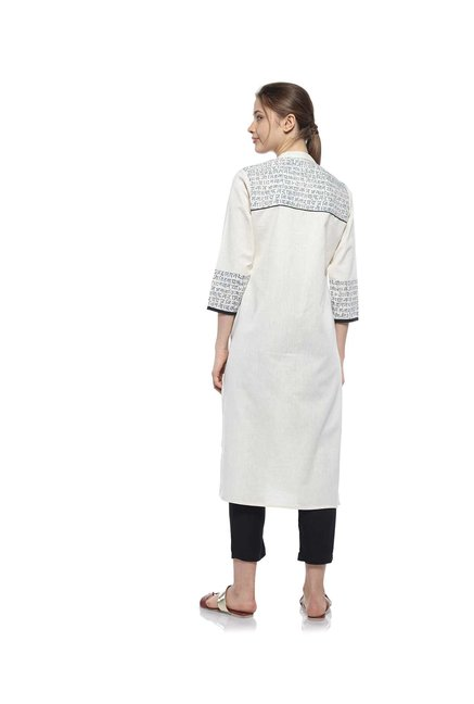 Zudio Off White Text Print Kurta