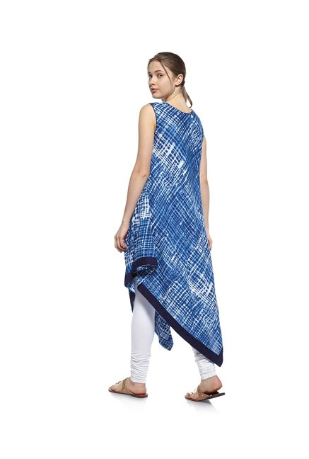 Zudio Blue Tie-Dye Slim Fit Kurta