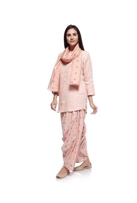 Zuba by Westside Light Pink Pure Linen Kurti