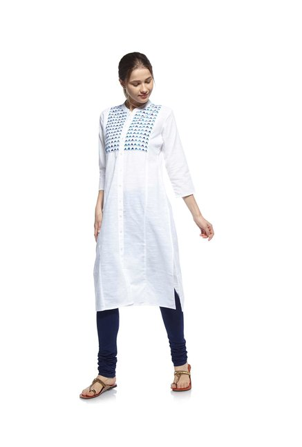 Zudio White Embroidered Kurta