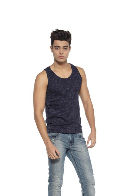 9b39012207 Buy Zudio Indigo Slim Fit Vest for Men Online   Tata CLiQ