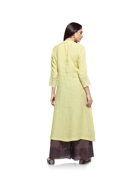 Zuba by Westside Lime Pure Linen Kurta