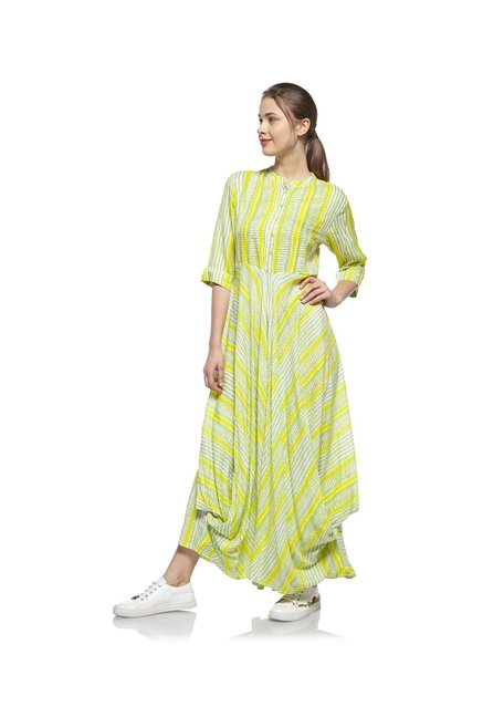 945ad24a15 Buy Zudio Yellow Ethnic Slim Fit Maxi Dress for Women Online @ Tata CLiQ