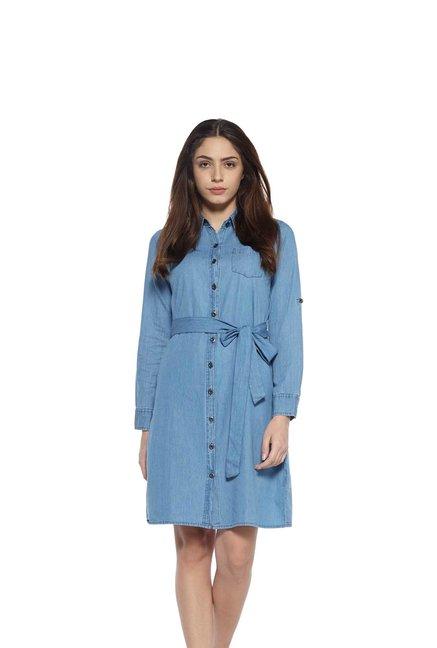 78b1cfd9ba Buy Zudio Blue Pure Cotton Denim Dress with Tie-up Belt for Women ...