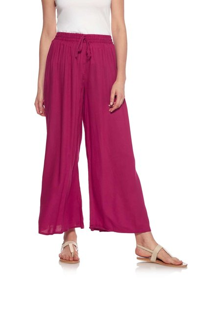 Zudio Magenta Slim Fit Palazzos