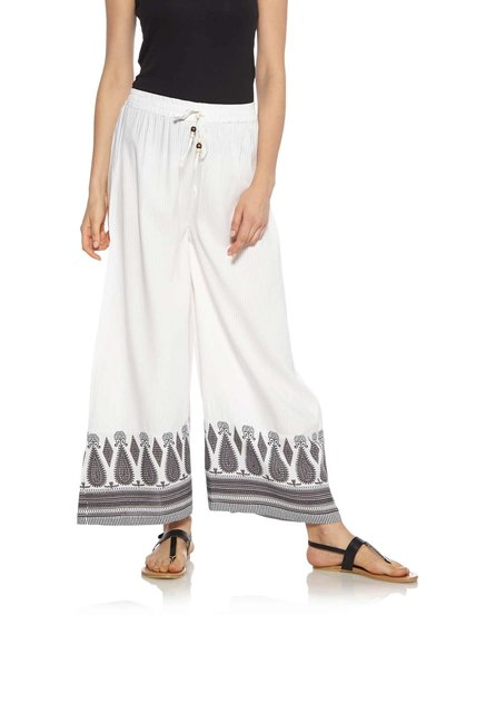 Zudio Off White Striped Printed Palazzos