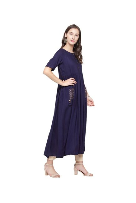 Varanga Navy Regular Fit Kurta
