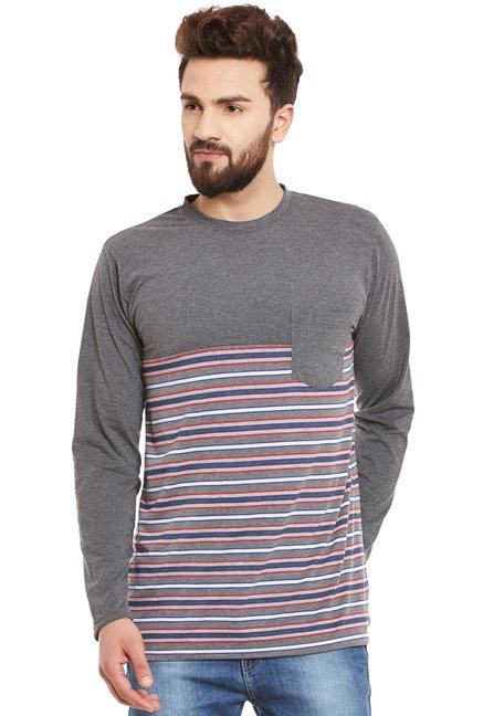 5914636a706 Buy Hypernation Grey Striped Full Sleeves T-Shirt for Men Online   Tata CLiQ