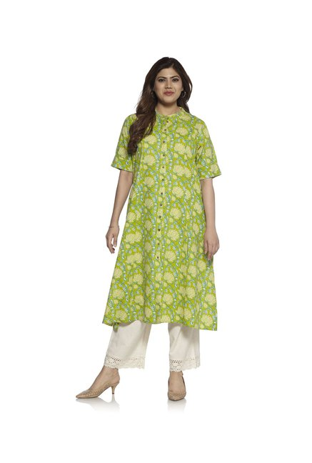 Diza curve by Westside Lime Lotus Print Kurta
