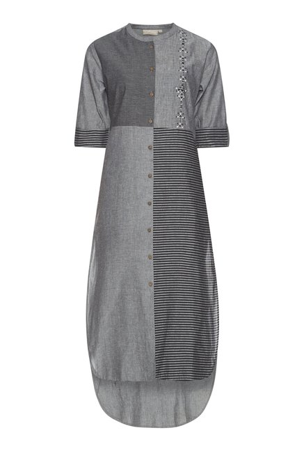 Utsa by Westside Grey Striped Kurta