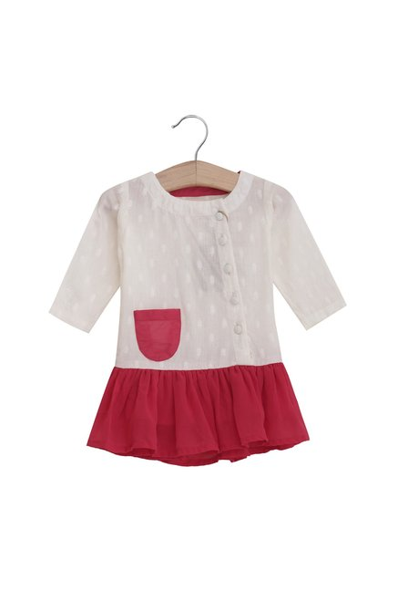 711653ead70b Buy UFO White   Pink Textured Dress for Infant Girls Clothing Online   Tata  CLiQ