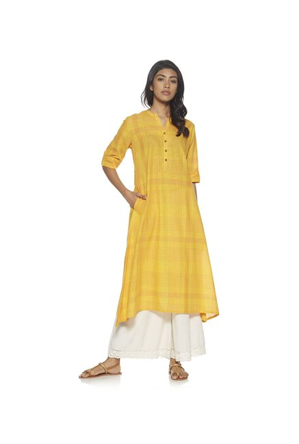 Utsa by Westside Yellow Checked Kurta