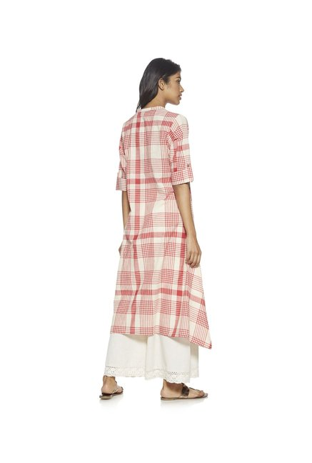 Utsa by Westside Red Checked Kurta