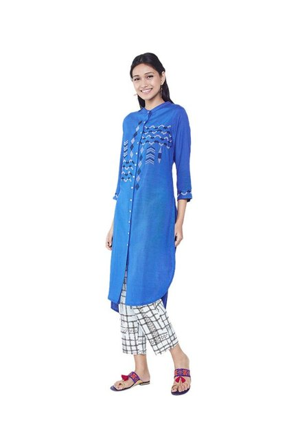 ee499b7fd79 Buy Global Desi Blue Embroidered Tunic Dress for Women Online @ Tata ...