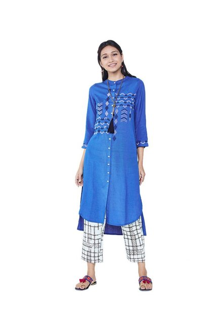 075d5106ab9 Buy Global Desi Blue Embroidered Tunic Dress for Women Online @ Tata CLiQ