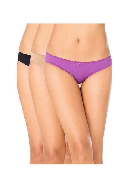 592e46ebeee Buy PrettySecrets Multicolor Bikini Panties (Pack Of 3) for Women ...