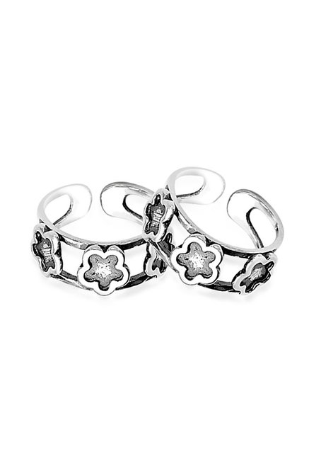 9e23c49fc Buy Taraash Sterling Silver Floral Toe Rings for Women At Best Price ...
