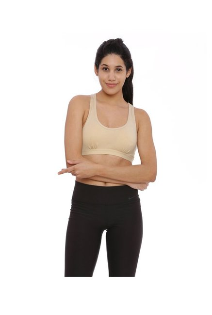 BRAG Beige Non Wired Padded Sports Bra