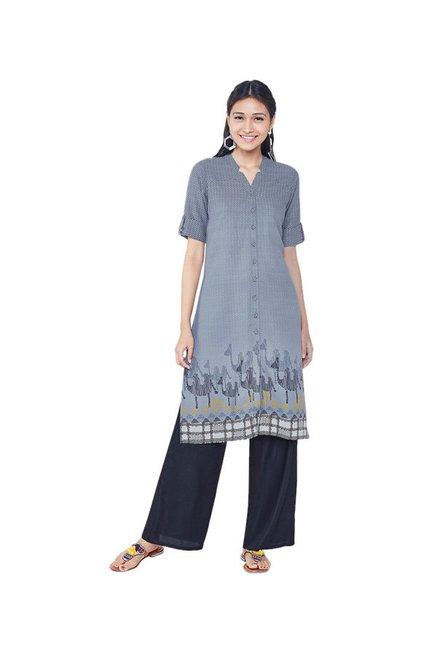 3635e69f2a8 Buy Global Desi Grey Printed Tunic Dress for Women Online @ Tata ...