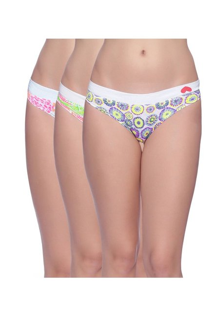 953c91f90 Buy BRAG White Printed Bikini Panty (Pack Of 3) for Women Online   Tata CLiQ