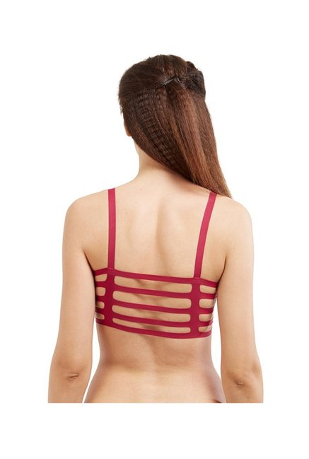 Blush by PrettySecrets Maroon Strappy Sports Bra