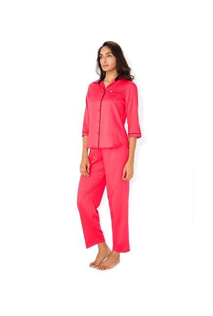 212c4330c2 Buy PrettySecrets Coral Polyester Pyjama Set for Women Online @ Tata ...
