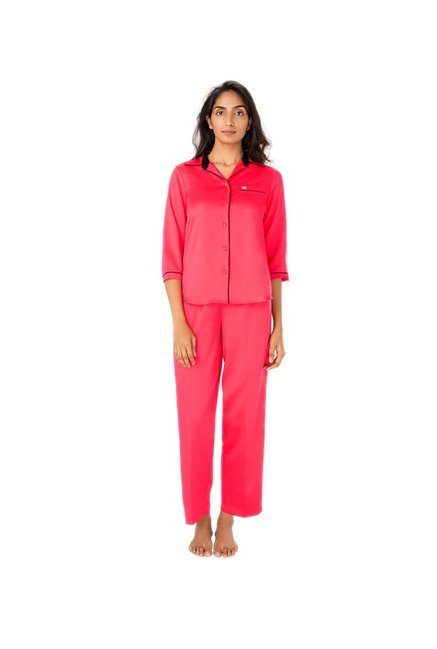 8533cec7d4 Buy PrettySecrets Coral Polyester Pyjama Set for Women Online @ Tata CLiQ
