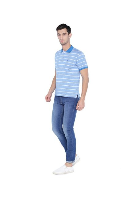 Solly By Allen Solly Blue Regular Fit Polo T-Shirt