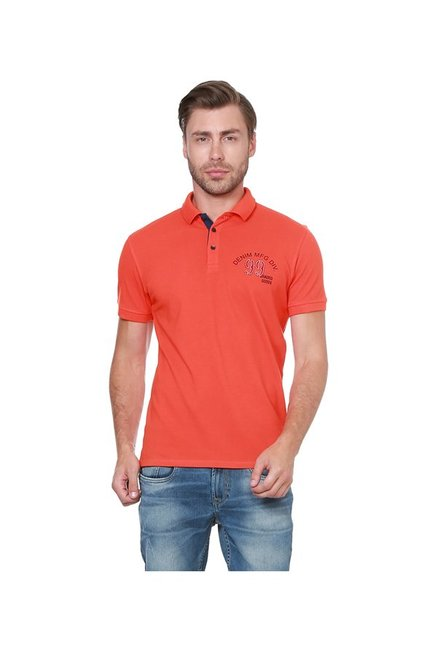 Peter England Orange Slim Fit Polo T-Shirt