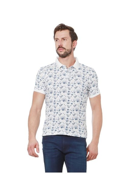 Peter England White Slim Fit Polo T-Shirt