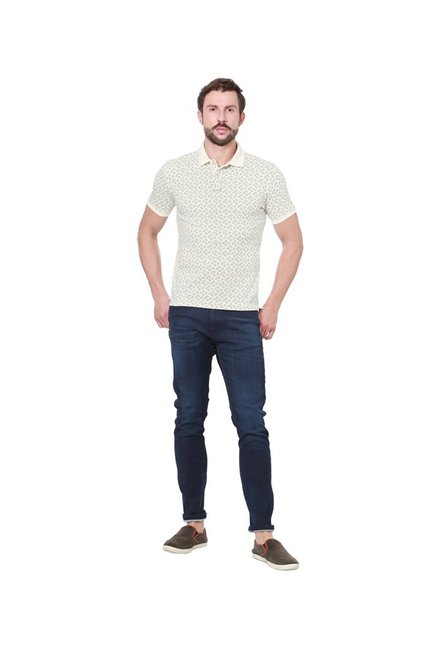 Peter England Cream Slim Fit Polo T-Shirt