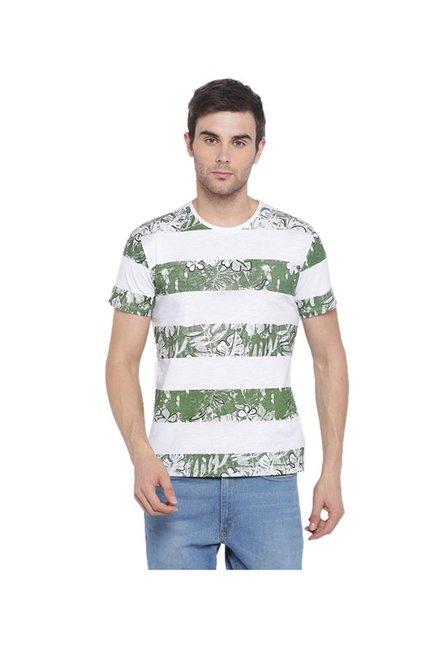 5a2675ca0 Buy Van Heusen White & Olive Slim Fit T-Shirt for Women Online @ Tata CLiQ