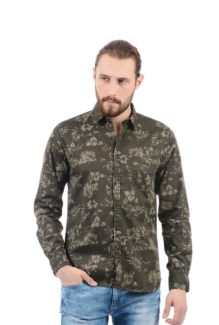 85604396bac Buy Pepe Jeans Army Green Slim Fit Shirt for Men Online   Tata CLiQ