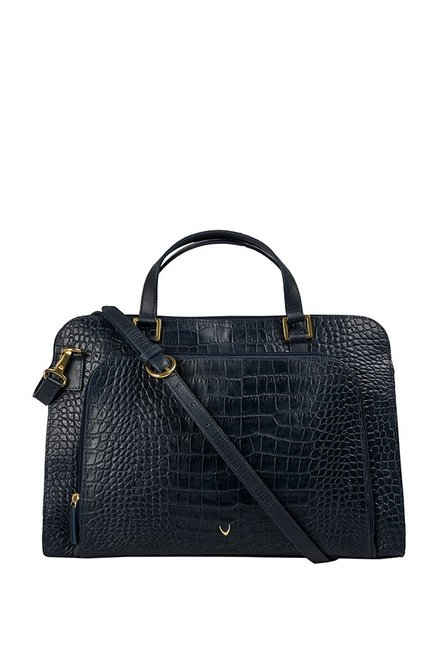 Hidesign Biscotte 01 Navy Textured Laptop Messenger Bag