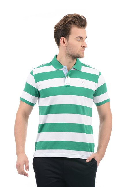 52b898ddbb0757 Buy Arrow Sport Green   White Striped Polo T-shirt for Men Online   Tata  CLiQ