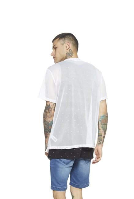 fbf834cb7b Buy Nuon by Westside White Slim Fit Mesh T-Shirt For Men Online At ...