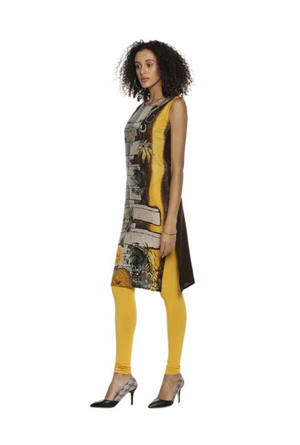 Soch Brown & Yellow Printed Rayon Kurta